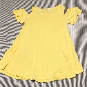Yellow cold shoulder boutique tunic